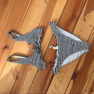Swim - Striped Tie Front Bikini